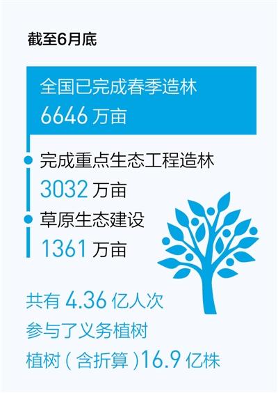 上半年完成春季造林6646万亩——4.36亿人次参与义务植树